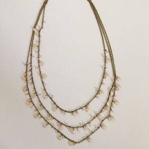 Statement piece necklace with blush & white beads